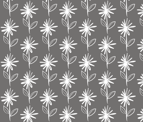 Floral Asterix Flower Stem Grey fabric by smuk on Spoonflower - custom fabric