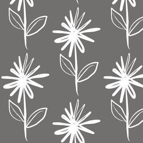 Floral Asterix Flower Stem Grey