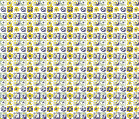 Daisy Postage Stamp fabric by larkspur_hill on Spoonflower - custom fabric