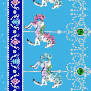 lighter blue egl gothic lolita carousel pony horse carnival border baroque Un Manege Robe jewels gems stars sparkles glitter