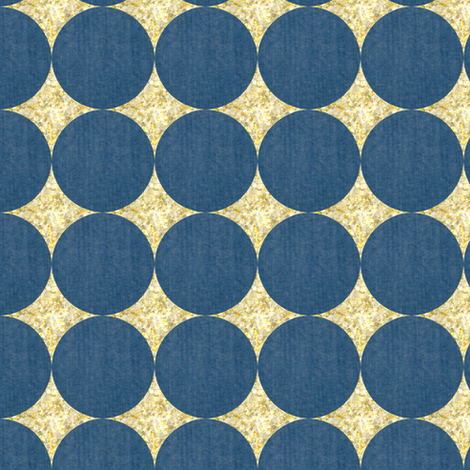 gold and jeans sparkle dots fabric by ravynka on Spoonflower - custom fabric