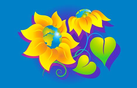 Bright Sunflowers fabric by margodepaulis on Spoonflower - custom fabric