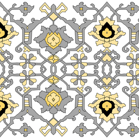16th Century Floral Border Siver and Gold fabric by pond_ripple on Spoonflower - custom fabric
