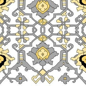 16th Century Floral Border Siver and Gold