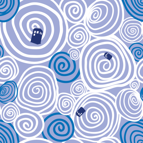 Timey Wimey - Blu - 03 - vortex fabric by aliceelettrica on Spoonflower - custom fabric