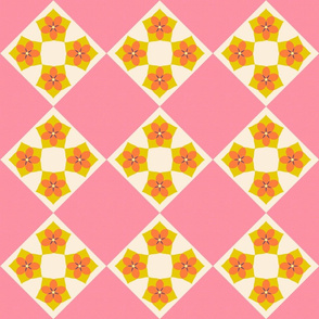 Flower Cross Patch   v2  -Spring Floral Quilt palette