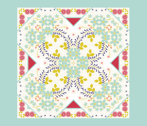 Spring Cheater Quilt Block Knot Garden fabric by joanmclemore on Spoonflower - custom fabric