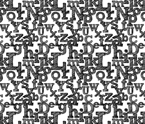 Sketched Alphabet on White fabric by jennifercolucci on Spoonflower - custom fabric