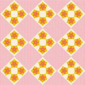 Flower Cross Patch   v3  -Spring Floral Quilt palette