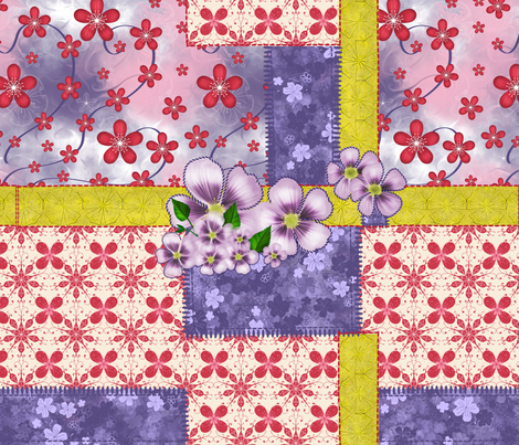 Patchwork and flower applique fabric by lermannika on Spoonflower - custom fabric