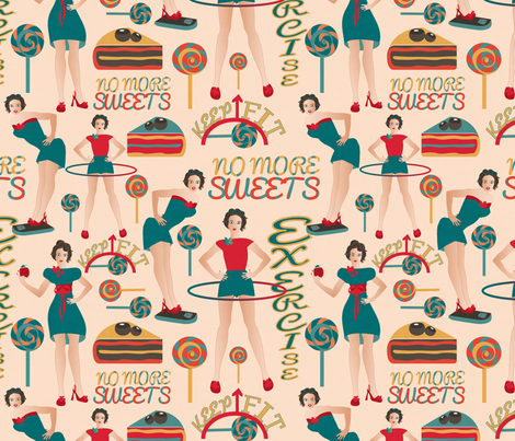 dieters resolutions on cream fabric by kociara on Spoonflower - custom fabric