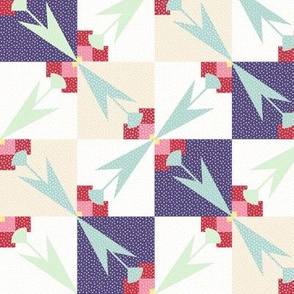 spring tulips mirrored quilt