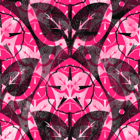 Musk~Mallow ~ Chalk and Watercolor ~ Courtesan, Black and White  fabric by peacoquettedesigns on Spoonflower - custom fabric