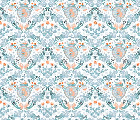 Fertility Damask, orange and teal fabric by chantal_pare on Spoonflower - custom fabric