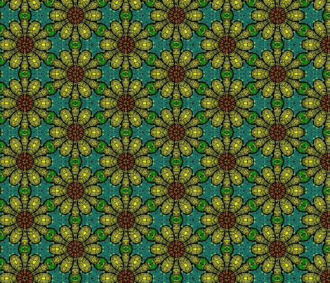 Yellow Stain Glass Flowers fabric by charldia on Spoonflower - custom fabric