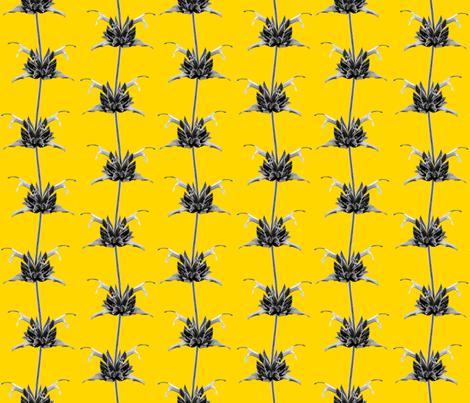 Hummingbird Sage-Monochrome on Yellow fabric by jacumba on Spoonflower - custom fabric