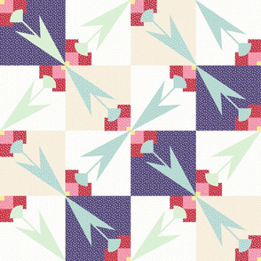 Spring Tulips Cheater Quilt Blocks 18 inch repeat