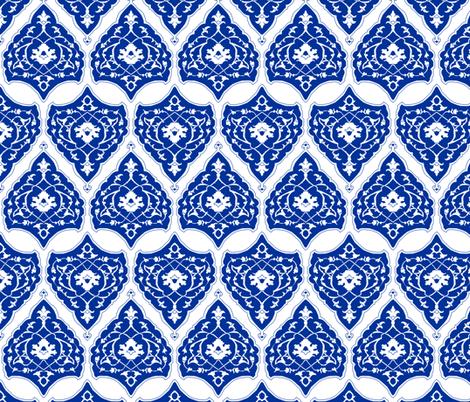 16th Century Carpet China Blue fabric by pond_ripple on Spoonflower - custom fabric