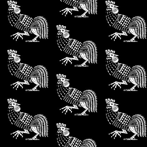 rooster strut black fabric by keweenawchris on Spoonflower - custom fabric