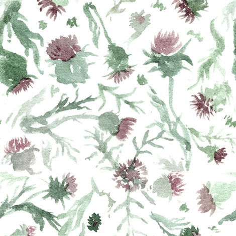 thistle Watercolor fabric by aliceelettrica on Spoonflower - custom fabric