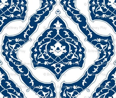 16th Century Carpet Drop Repeat China Blue