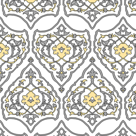 16th Century Carpet Silver and Gold fabric by pond_ripple on Spoonflower - custom fabric