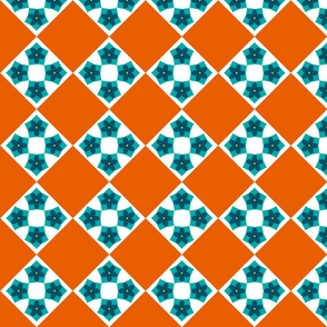 Floral Cross Patch  -Teal and Terracotta