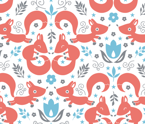 Cute foxes love blue flowers fabric by oksancia on Spoonflower - custom fabric