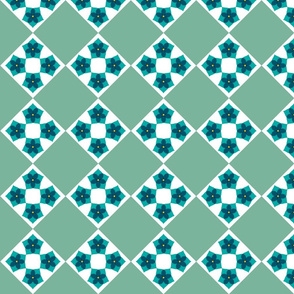 Floral Cross Patch   -Teal and Sage