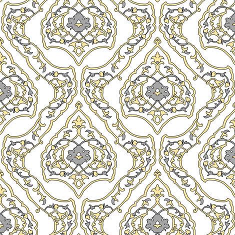 16th Century Carpet Drop Repeat Silver and Gold fabric by pond_ripple on Spoonflower - custom fabric
