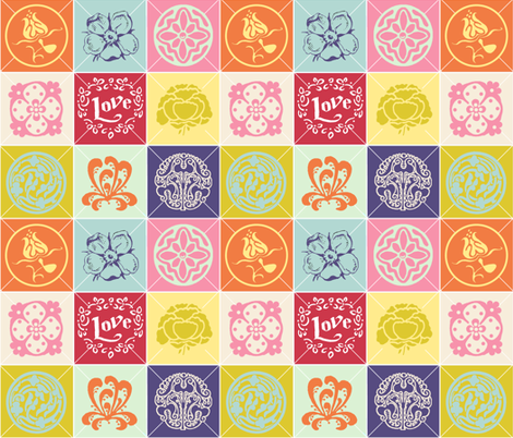 Love Among The Flowers fabric by chrisanne on Spoonflower - custom fabric