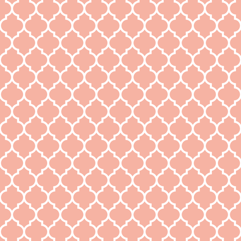 Quatrefoil lattice in pale salmon coral pink fabric by spacefem on Spoonflower - custom fabric