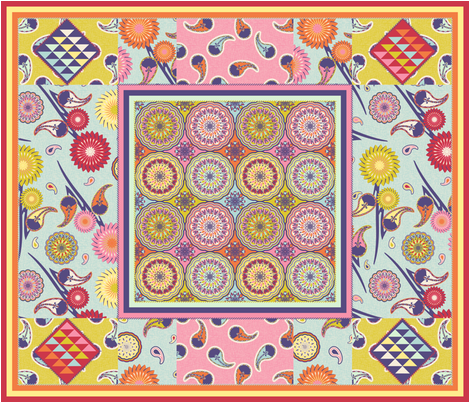 BOHO QUILT (Restricted palette) fabric by vannina on Spoonflower - custom fabric