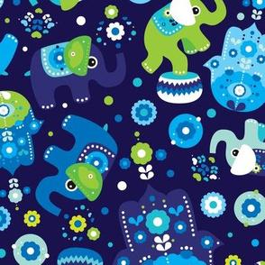 Blue boy elephant and hand of fatima pattern