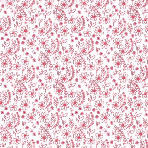 Folk Flowers  fabric by samdraws on Spoonflower - custom fabric