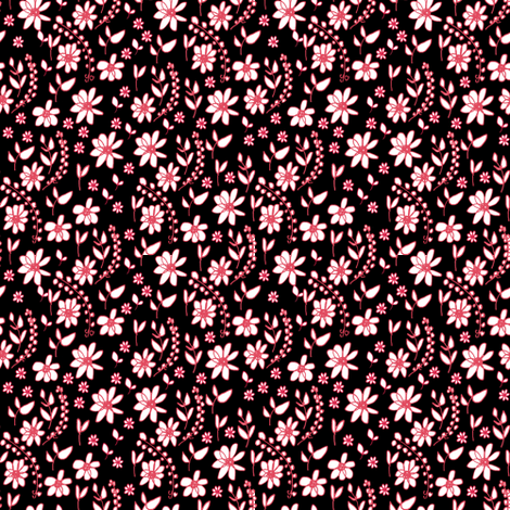 Folk Flowers black fabric by samdraws on Spoonflower - custom fabric