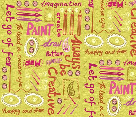 ...To Lead a Creative Life fabric by slumbermonkey on Spoonflower - custom fabric