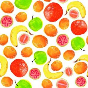 Guava, Apple, Mandarin and Banana