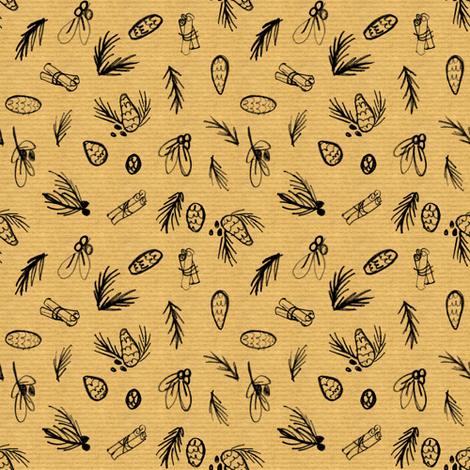 Winter on Brown Paper fabric by crumpetsandcrabsticks on Spoonflower - custom fabric