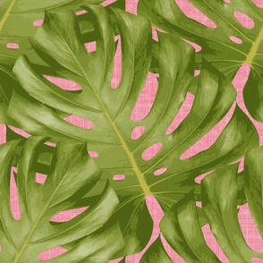 Monstera Leaf Pink and Green