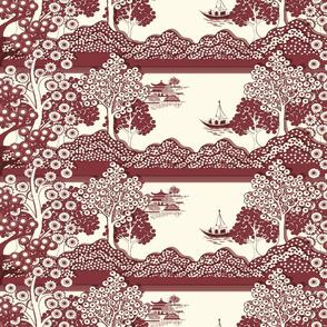Willow-esque Horizontal Border Print - Red