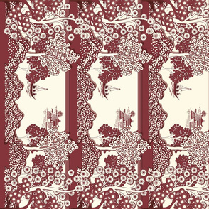 Willow-esque Vertical Border Print - Red