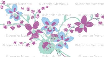 Vintage Pansies in Radiant Orchid, Hemlock and Placid Blue