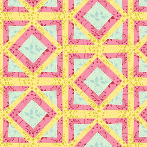 Island Quilt Squares Multi -Spring Floral