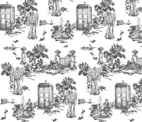 weeping angels toile de jouy fabric by debi_birkin on Spoonflower - custom fabric