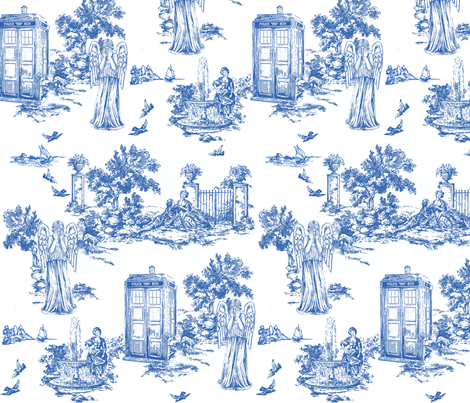 weeping angels toile de jouy fabric by debi_birkin on Spoonflower - custom fabric