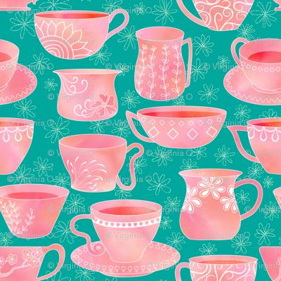 Teacups in Watercolor
