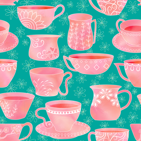 Teacups in Watercolor fabric by vo_aka_virginiao on Spoonflower - custom fabric