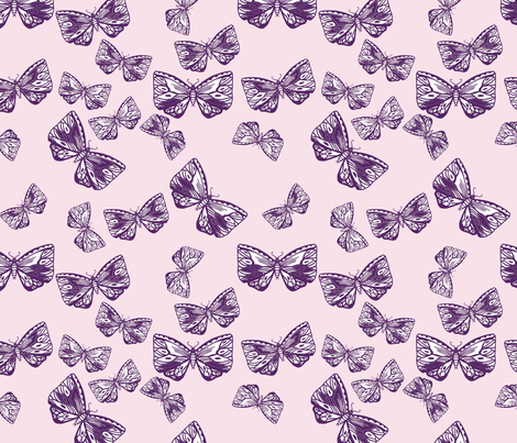 Moth Blackberry fabric by thistleandfox on Spoonflower - custom fabric