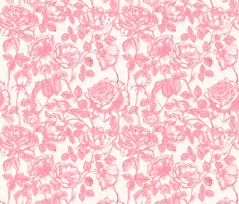 Toile de Jouy roses_pink fabric by the_window_way on Spoonflower - custom fabric